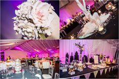 Heaton House Farm - Wedding Evening - James Jebson Wedding Photography - Floral Centrepiece - Christmas Table Decoration - Steele's Barn - Pink Lighting - Bunting - Wedding & Event Decoration Ideas