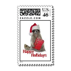 sold! - #Christmas Bandit #Raccoon with Present Postage Stamps by #I_Love_Xmas shipping to Jessup, MD