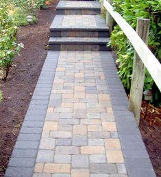 Simple, Narrow Bordered Front Walkway in Pavers #aroundhouselandscape #WalkwayLandscape