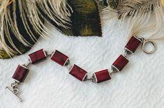 Vintage Mex Sterling Red Jasper Bracelet on Mercari Red Jasper, Link Bracelets, Mexico, Bangles, Minimalist, Vintage Bracelet, Sterling Silver, 1980s, Stones