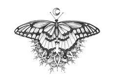 Dot Art - Stipplng Butterfly Drawing - Gift - Sternum Tattoo ...