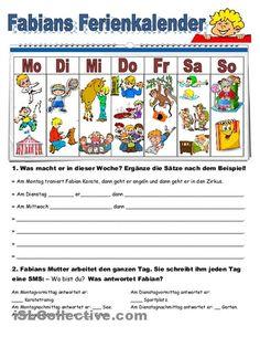Fabians Ferienkalender Arbeitsblatt - Kostenlose DAF Arbeitsblätter