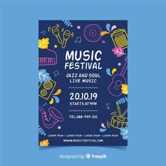 Instrument silhouettes music festival poster Free Vector Information on Music of Festival in nice blue font Musikfestival Poster, Blue Poster, Kids Poster, Party Poster, Event Poster Design, Graphic Design Posters, Flyer Design, Layout Design, Kids Graphic Design