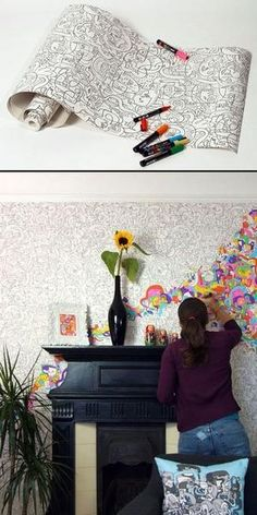 Do it with POSCA pens - how fun would this wallpaper be?