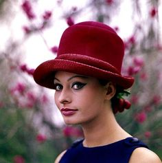 Sophia Loren, 1960s....love the hat and her make-up