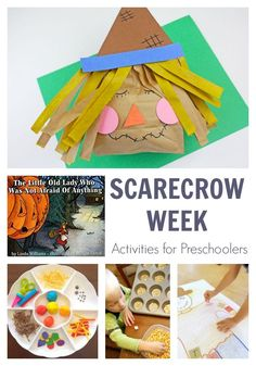 Fun week of scarecrow themed activities for preschoolers inspired by the book The Little Old Lady Who Was Not Afraid of Anything. Harvest Activities, Preschool Projects, Preschool Learning Activities, Preschool Lessons, Kids Crafts, Educational Activities, Art Activities For Preschoolers, Halloween Preschool Activities, Therapy Activities