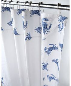 @Overstock - Bring the beach to your bathroom decor with this fun shower curtain  Shower curtain features a border of blue crabs  Bathroom accessory has a crisp white backgroundhttp://www.overstock.com/Bedding-Bath/Blue-and-White-Crab-Border-Canvas-Shower-Curtain/3016563/product.html?CID=214117 $26.99
