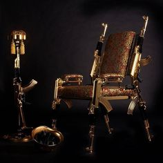 Give Tony Montana's interior decorator a run for her money by adding this luxurious gold-plated chair to your trap house's decor. It's upholstered with extravagant English and Italian hand woven fabric and accented with real gold plated Modern Miracles, Gold N, Painted Trays, Outdoor Chairs, Outdoor Decor, Drip Painting, Unusual Gifts, Couple Gifts, Toys For Boys