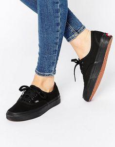 75eed5a8de Vans Authentic Classic Black Mono Lace Up Sneakers