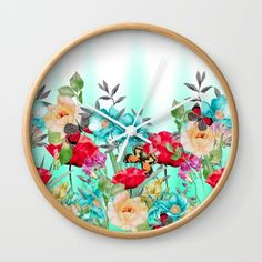 "Available in natural wood, black or white frames, our 10"" diameter unique Wall… #flowers #art #butterflies #homedecor"