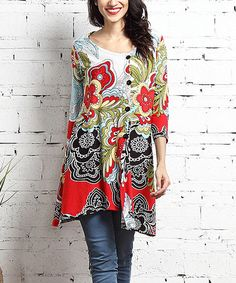 Look what I found on #zulily! White & Red Floral Side-Button Tunic #zulilyfinds