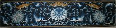 """c. 1850 Chinese blue and white silk embroidery on navy blue silk border with large flower heads embroidered in Peking knot and bats embroidered in gold thread, surrounded by scrolling vines done in a satin stitch.  38½"""" long x 9"""" wide"""