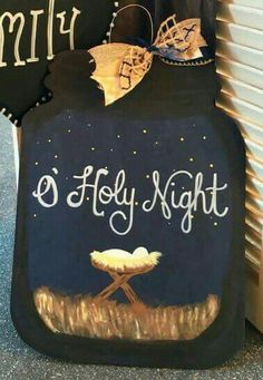 Most up-to-date Pics Christmas Wooden Door Hanger O Holy Night Wooden Door Hanger Mason Jar Popular Your individual door hanger Sure, the classic is obviously the door pendant, by which on the leading Christmas Mason Jars, Christmas Door, Christmas Crafts, Christmas Ideas, Christmas 2019, Christmas Decorations, Xmas, Wooden Doors, Wooden Signs