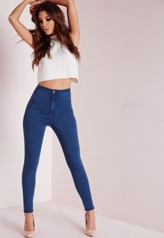 Vice Super Stretch High Waisted Skinny Jeans Mid Blue