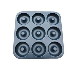 9 Cavity Donut Pan-100% Top Silicone Baking Pan, Mold, Non-Stick, Full Size Doughnuts, BPA-Free, Professional Grade Pan, Easy-To Use, Entertaining Friendly. Microwave, Freezer, Oven, and Dishwasher Friendly.(dark grey)