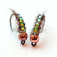 Silver Bead head iradesant flash back orange caddis larva set of 12