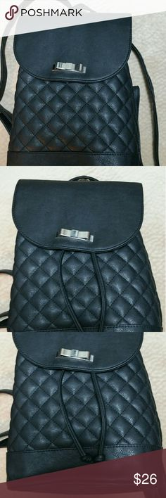 Bags Black Faux leather quilt backpack  Never use Claire's Bags Backpacks