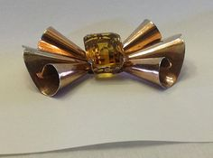 Signed Sterling Bow Brooch with Citrine Glass by SweetBettysBling, $55.00
