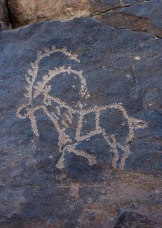 Goat on a rock carving in Abar Himma site - Najran Saudi Arabia    Najran Abar Hima site. If you're a lover of those kinds of carvings, go in KSA, you do not even have to search, they are everywhere on many old areas! And local people respect them, so they are very well preserved.  Eric Lafforgue