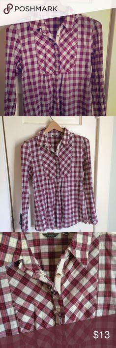 "Eddie Bauer Button down plaid shirt Lightweight cotton shirt.  Buttons all the way down.  25"" long.  Very cute!! Eddie Bauer Tops Button Down Shirts"