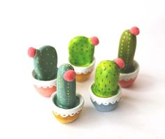 Cactus art  Gift for gardeners  Hand sculpted por sweetbestiary