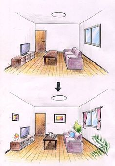 Interior Design For Living Room Interior Architecture Drawing, Interior Design Renderings, Drawing Interior, Interior Sketch, Architecture Design, One Point Perspective Room, Room Perspective Drawing, Decorating Websites, Laminate Flooring