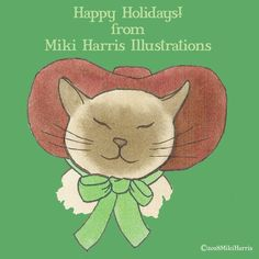 Merry Christmas! Shop: redbubble.com/people/mikiharrisart Link in bio. #mikiharrisillustrations #christmas #cat #cats #illustration #illustrations #watercolor #painting #holiday
