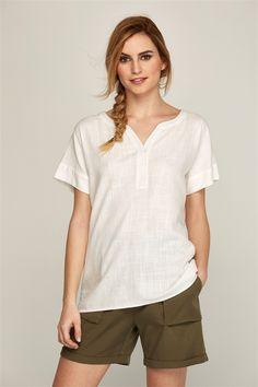 Camisa lino manga corta