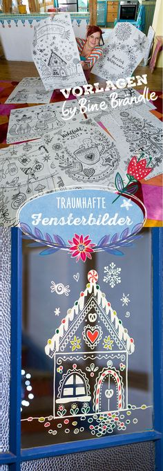 Bine Brändle – Meine bunte Welt – kreativ, bunt und verspielt – Bine Brändle Dreamlike window pictures like this to nibble sweet gingerbread house simply paint yourself on the window with chalk markers. Great templates for window pictures by Bine Brändle. Cute Christmas Decorations, Holiday Decor, Christmas Time, Christmas Crafts, Window Markers, Halloween, Chalk Markers, Theme Noel, Window Art