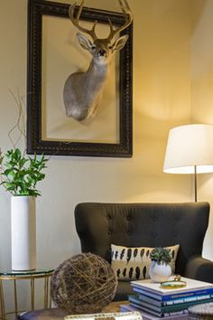 Taxidermy for fireplace: Lyn's Houzz - transitional - family room - boise - Judith Balis Interiors