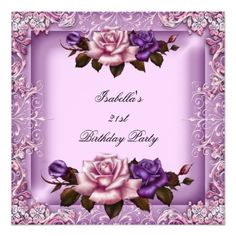 21st Elegant Pink Purple Lilac Rose Birthday Party Personalized Announcements Party Invitations by Zizzago.com