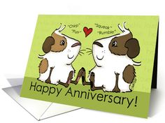 Happy Anniversary for Husband-Guinea Pig Couple Speak card