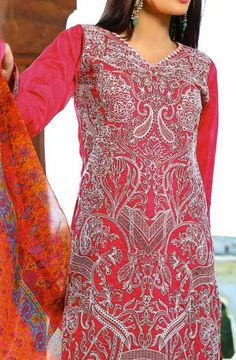 Buy Pink Embroidered Cotton Lawn Dress by Reeva Eid Collection 2015 by Shariq Textiles.