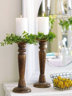 Easily add greenery to any set of candlesticks.