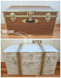 Old, free travel trunk...completely transformed with Chalk Paint and a few grain sack stripes too!