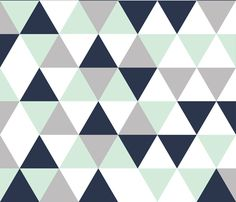 triangle wholecloth // mint + navy + gray fabric by ivieclothco on Spoonflower - custom fabric