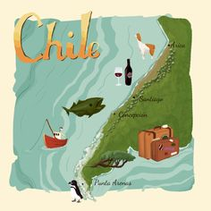 Last year, myself and other fellow illustrators created a series of illustrated maps. You can see them up now on The Mighty Pencil. I chose to do an illustrated map of Chile. It's a slightly differ. Chile, National History, Country Maps, Fall Capsule, Map Design, Illustration Sketches, History Museum, Vintage Travel Posters, Map Art