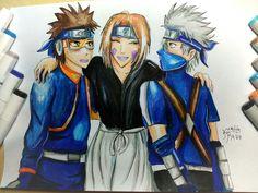Rin, Obito, Kakashi. Friendship forever. By Kamikita Ryuu