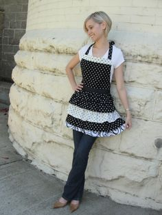 Black/white polka dot apron with ruffles. www.etsy.com/shop/overthetopaprons