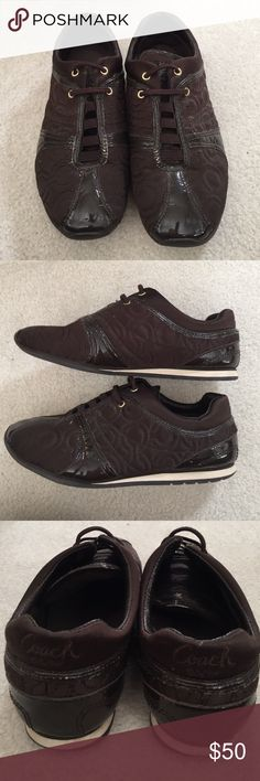 Coach Slip On Sneaker These have been loved, but they are in great condition structurally. As shown in the first photo the patent leather has cracked a bit from being in storage. Super comfy. Make an offer! Coach Shoes Sneakers