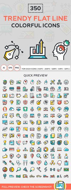 Trendy Flat Line Colorful Icons #design Download: http://graphicriver.net/item/trendy-flat-line-colorful-icons/13443214?ref=ksioks