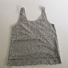 Abercrombie & Fitch tank Super cute gray lace tank top with beading detail! Abercrombie & Fitch Tops Tank Tops