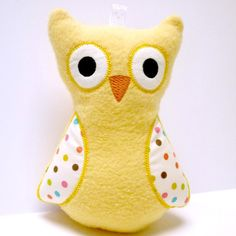 Yellow Plush Owl  Toy Owl  Baby Owl Toy by BirdieAndDot on Etsy, $15.00