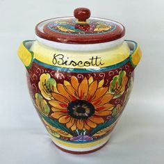 A vibrant cookie jar hand made in Italy with a sunflower motif - our Girasole collection brings joy and color to your kitchen!