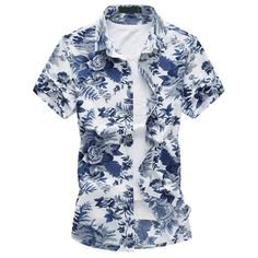 2017 New floral hawaiian shirt Summer Breathable thin Mercerized cotton short sleeve men shirt chemise Plus size blouse Plus Size Beach, Zara, Summer Outfits Men, Casual Shirts, Men Shirts, Shirt Men, Stylish Shirts, Short Shirts, Printed Shorts