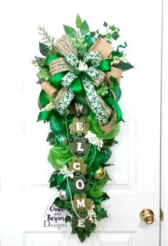 St Patrick's Day Swag,St Patrick's Day Wreath,St Patricks Day deco mesh swag,St Patricks Day deco mesh wreath,St. Patrick's Day swag by OverAndBeyondDesigns on Etsy