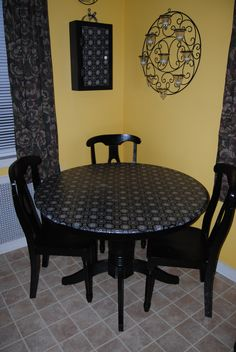Fabric table top  What a great idea  Kitchen Table MakeoverUpcycled  FurnitureVintage  DIY Kitchen Table   redo your old kitchen table into something  . Redo Old Kitchen Table. Home Design Ideas