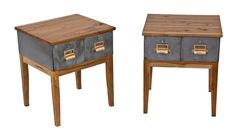 set of repurposed c. 1940's american industrial lyon metal cabinet side tables with custom-built hickory wood four-legged bases