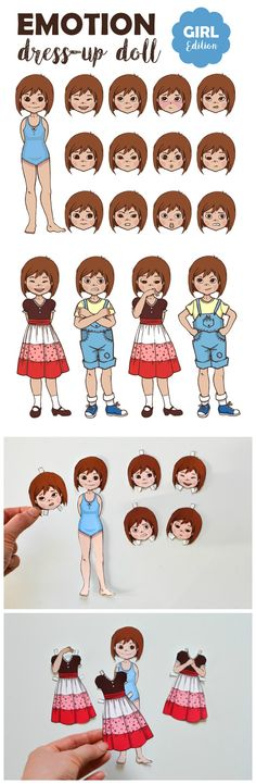 Did you play with paper dolls when you were a kid? This printable emotion paper doll operates on the same principle: only instead of dresses, she changes poses and expressions to convey a wide array of emotions and teach children to successfully read other people's body language. When I was a kid, I used to …