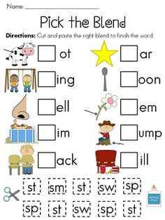 Lots of really cute initial blends worksheets!! S-Blends (make a game instead of a worksheet)
